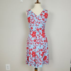 Lands End Blue Red Floral Wrapping Dress Size 6-8